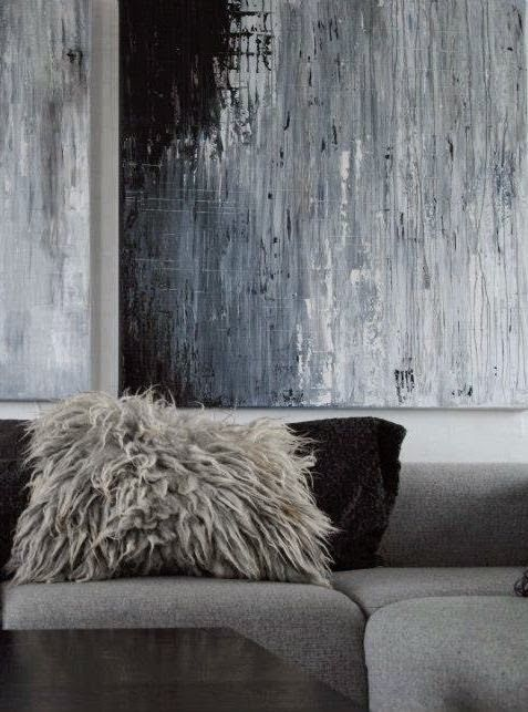 Méchant Studio Blog -- I love the cozy hairy pillow and the painting on the wall #wow #art #home