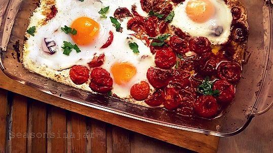 Seasons in a jar: Ψητά αυγά με ντοματίνια