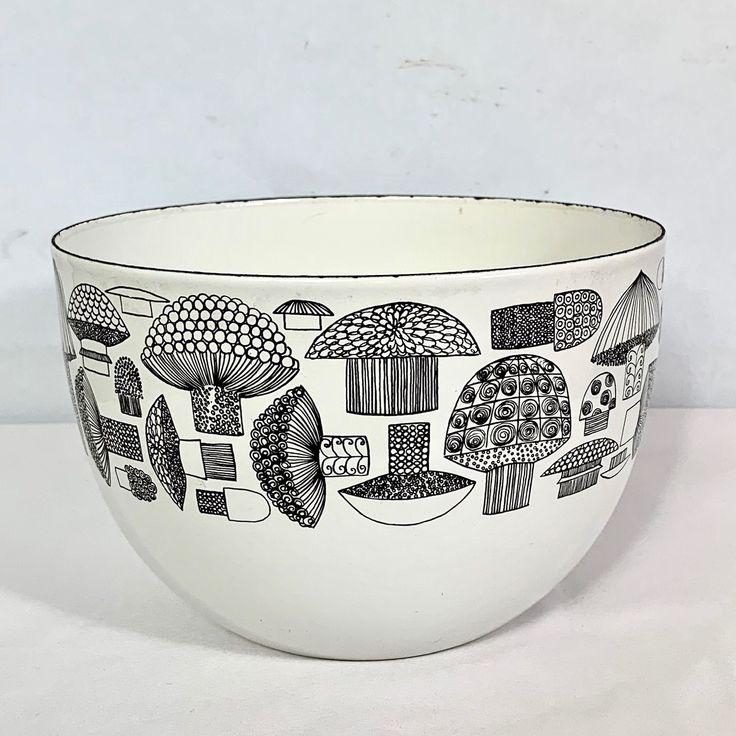 Mid Century Modern Vintage Kaj Franck Arabia Finel Mushroom Bowl Finland Enamel Black White