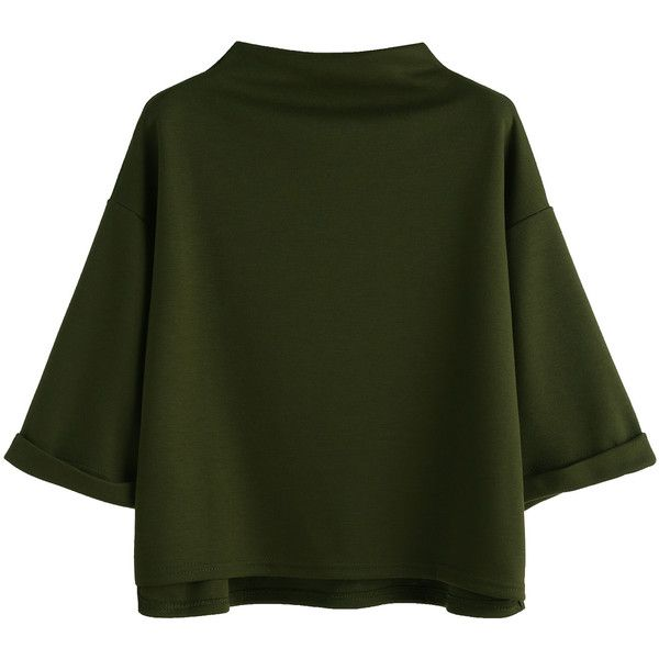 Army Green Funnel Neck Cuffed T-shirt (¥2,240) ❤ liked on Polyvore featuring tops, t-shirts, 3/4 sleeve tops, three quarter sleeve tops, 3/4 sleeve t shirts, olive green tee and 3/4 length sleeve tops