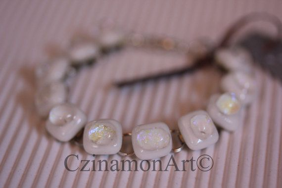 White Silver Dichroic Fused Glass Bracelet White by CzinamonArt, €25.00
