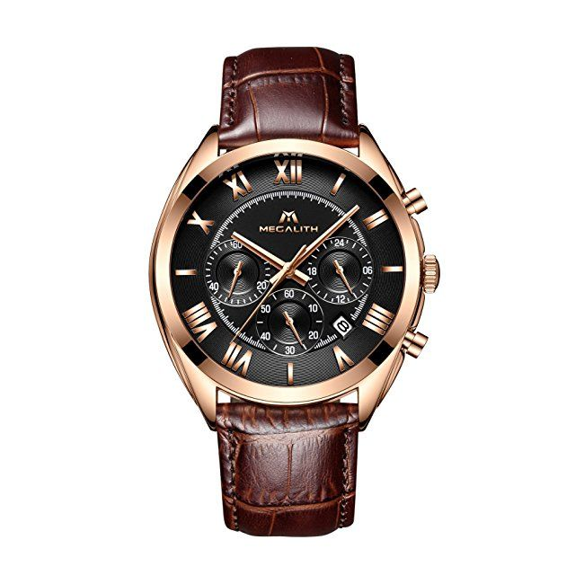 #mens #watches Mens Rose Gold Watches Men Chronograph Waterproof Sport Date Calendar Luxury Analogue Quartz Wrist Watch Gents Multifunction Fashion Casual Business Dress Watches with Brown Genuine Leather Strap