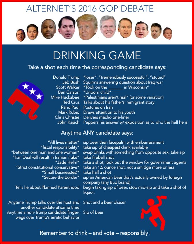 The GOP Debate Drinking Game: Special Trump Edition   Which Topic Will Produce the Most Outrageous Statements at the GOP Debate   Alternet