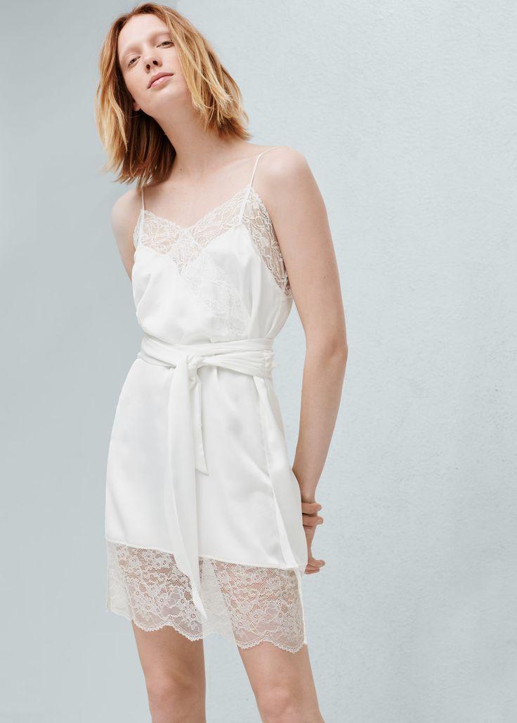Kleid mit spitzenapplikation -  Damen | MANGO Österreich