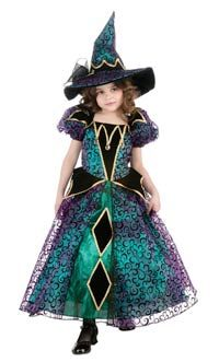 36.95 Girls Costumes - This cute Girls Radiant Witch Costume includes the dress and the matching hat.