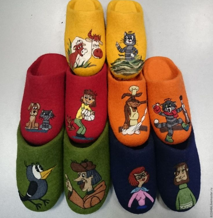 Купить домашние валяные тапочки ручной работы Любимые - комбинированный, Тапочки ручной работы
