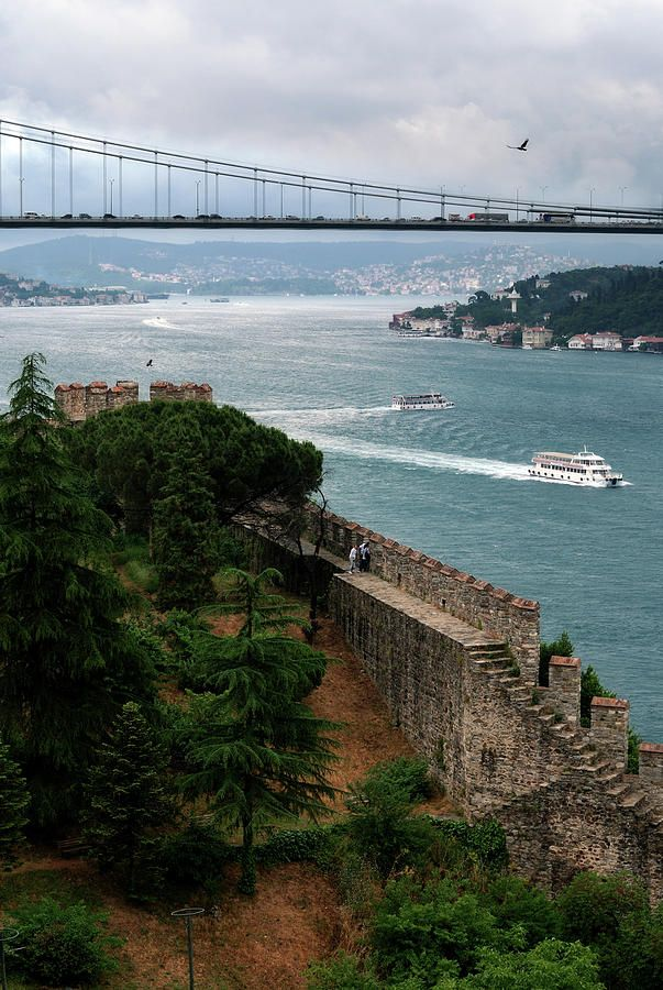 Bosphorus and ancient city wall - Istanbul, Turkey