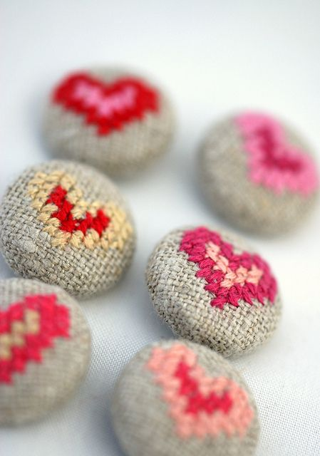 cross stitched buttons