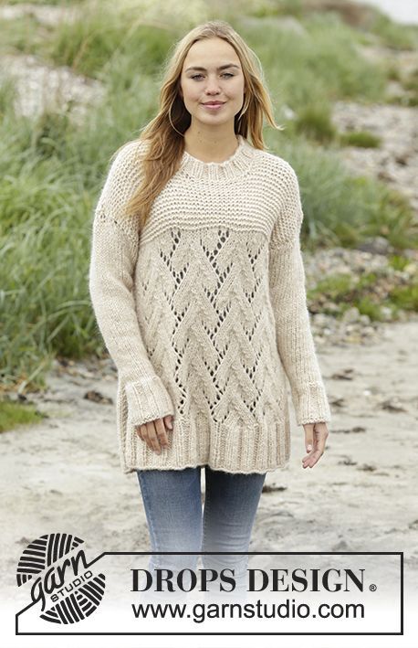 Golden Spikes jumper with lace pattern by DROPS Design Free Knitting Pattern