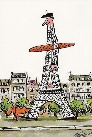 image carte postale, humour/fantaisie, paris, la tour eiffel avec un béret, une baguette sous le bras, et un chien