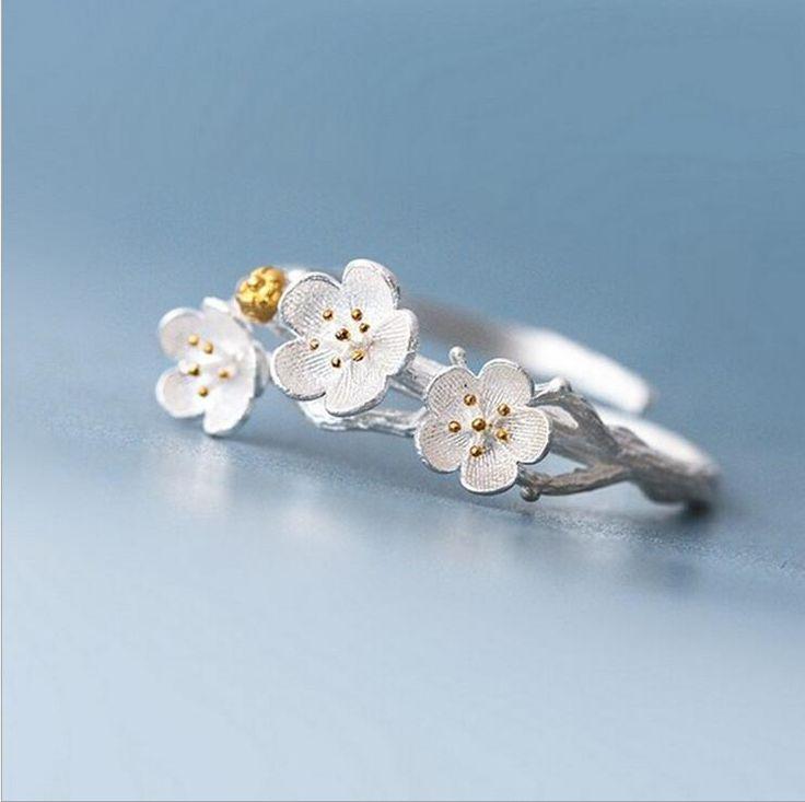 Sterling Silver Flower Ring, Flower Wrap Ring, Plum Flowers