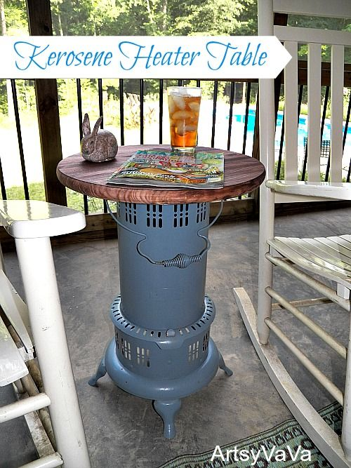 vintage kerosene heater table, hvac, outdoor furniture, outdoor living, painted furniture, repurposing upcycling