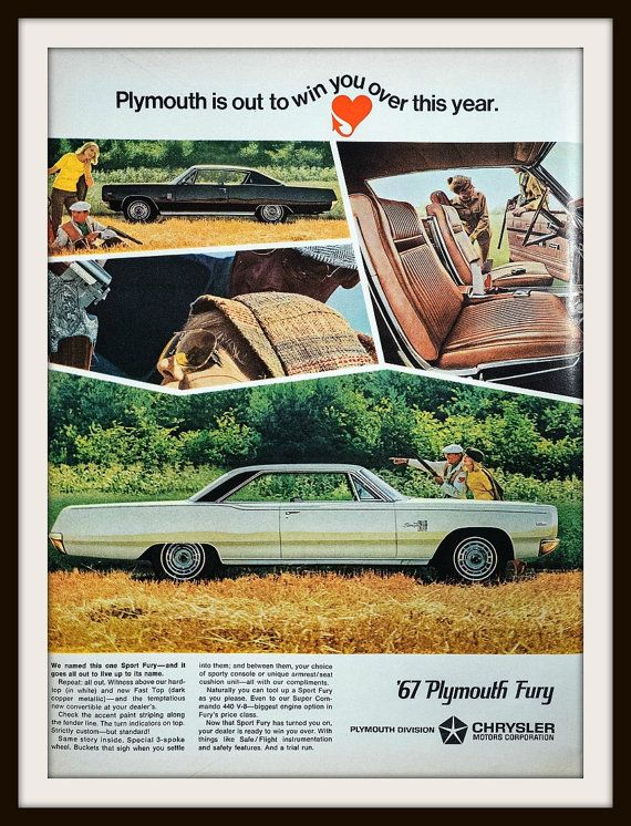 1966 Plymouth Sport Fury Advertisement. by vintageadsnprints