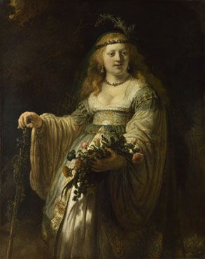 Saskia van Uylenburgh in Arcadian Costume 1635, RembrandtSaskia van Uylenburgh (1612 - 1642), the daughter of a burgomaster of Leeuwarden in Friesland, married Rembrandt in 1634 and brought him a large dowry. They had met in the studio of her cousin Hendrick Uylenburgh, who was Rembrandt's employer after his arrival in Amsterdam. Of their four children, only Titus was alive at the time of her death in 1642. National Gallery London