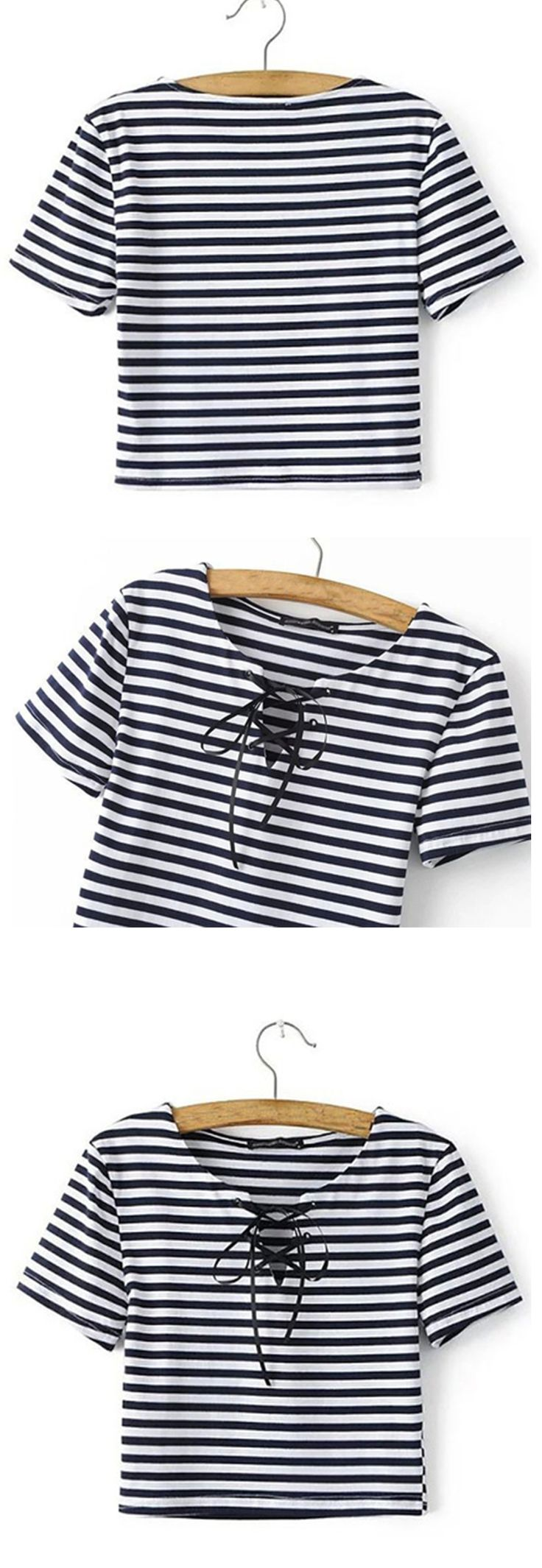Super cute striped lace up top! Never worn out, only tried on.Let the good day welcome you with a gentle breeze by wearing this lovely crop top.