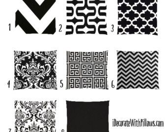black and white pillow cases – Etsy
