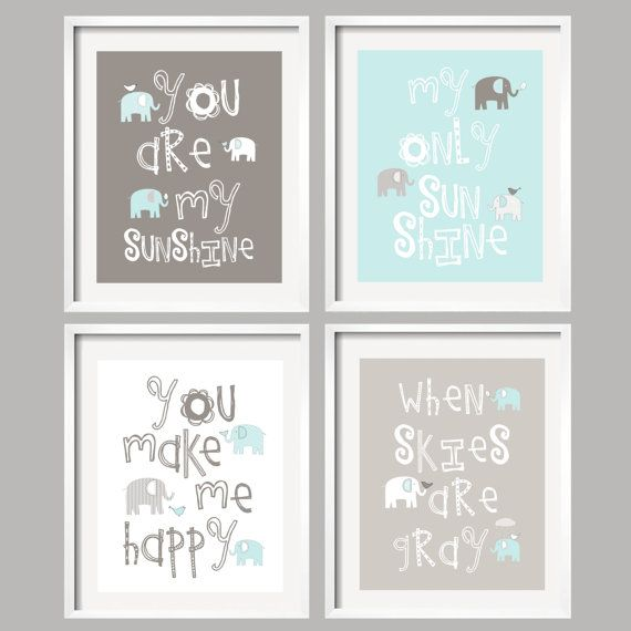 You Are My Sunshine - Blue and Gray Nursery Prints/ Elephant and bird -  8x10 - baby shower gift, for boy or girl $59.95