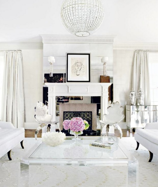 White, Silver, Mirrored Living Room @Sam McHardy Veeck