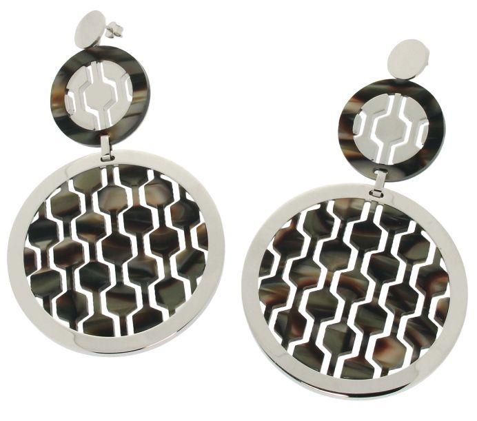 Earrings with black rodoide