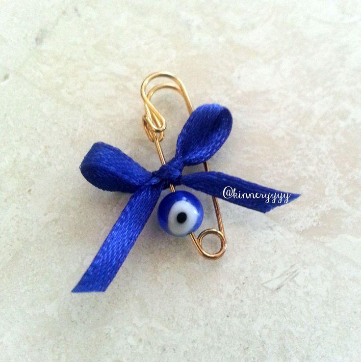 bride wedding something blue evil eye charm ribbon bow gold safety pin