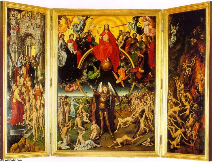 The last judgement triptych, 1473 by Hans Memling (1430-1494, Germany)
