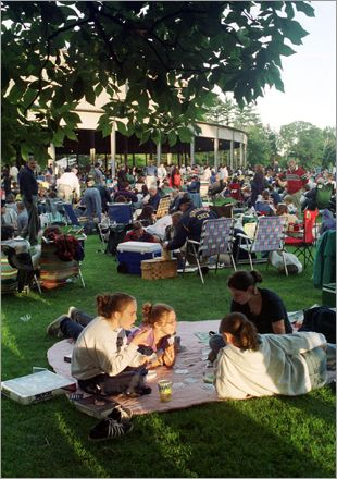 Tanglewood, summer home of the Boston Symphony Orchestra in Lenox, MA. The orchestra always plays the 1812 Overture. When I was a kid, we could hear the cannons firing from our house about 2 miles away.