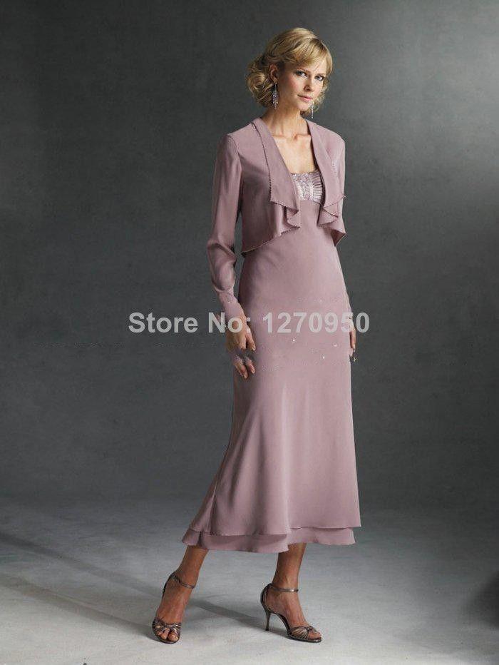 Элегантные Линии Ruched Чай длина Мать Невесты Платья с Длинным Рукавом Куртки Шифон Бальные Платья На Заказ