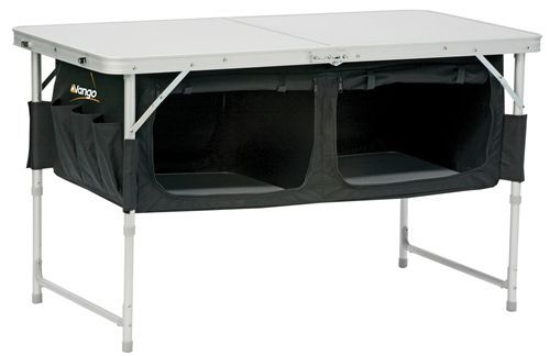 """Why the hell didn't I think of this? There is always so much """"dead space"""" under tables, even if you do put your cooler under there! Sew a rectangle, attach to your folding table, put ply wood on bottom of fabric """"box"""" to give you your shelf! Awesome camping gear, best camping gear #camping"""