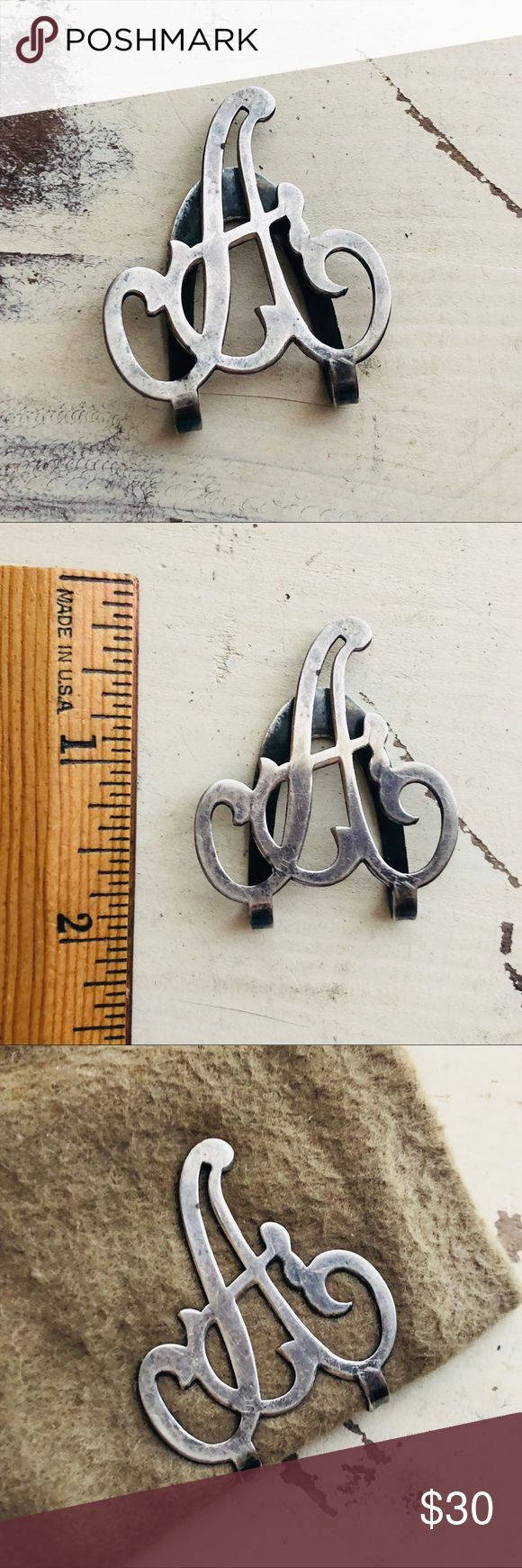 """VTG STERLING Victorian Napkin clip / Ring """"A"""" Beautiful Sterling Silver Victorian Napkin Clip / Ring ... the letter """" A """" Vintage Jewelry"""