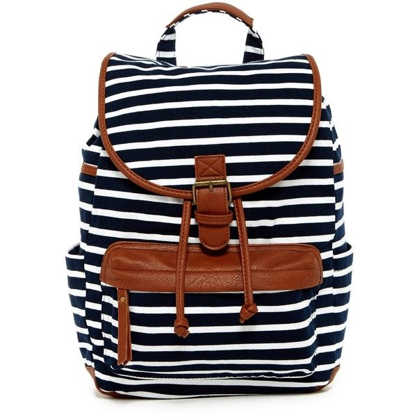Madden Girl Bench Backpack ($29) ❤ liked on Polyvore featuring bags, backpacks, drawstring bags, madden girl backpack, stripe backpack, shoulder strap bags and day pack backpack