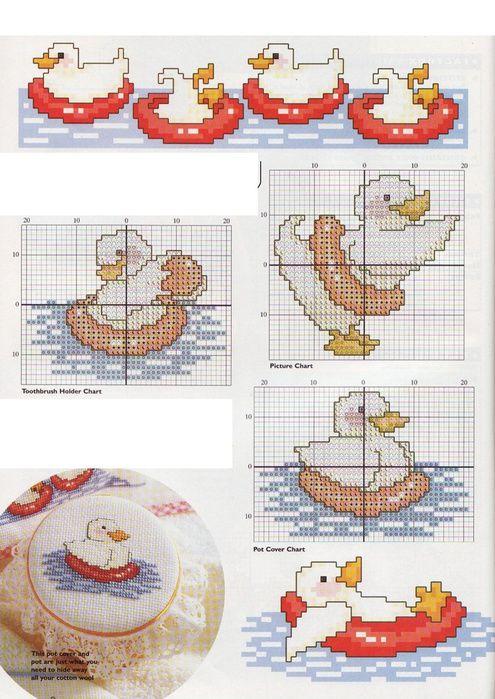 bébé - baby - canard - point de croix - cross stitch - Blog : http://broderiemimie44.canalblog.com/