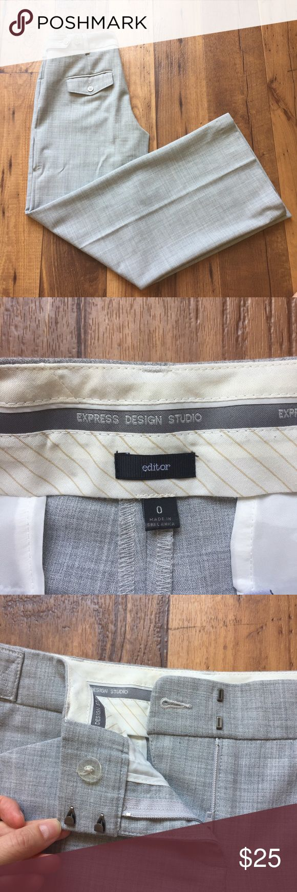 Express Design Studio Editor Style Pants Express Design Studio Trouser in Editor style! These pants are in great condition. Gorgeous gray color with light heathering/plaid coloring. These trousers feature functional pockets, and the leg slightly flares at the bottom giving a flattering shape. Hem can be one additional inch longer (shown in picture) to accommodate length if needed, just iron the hem where you want the leg length to be 😊 All buttons are intact! Express Pants Trousers