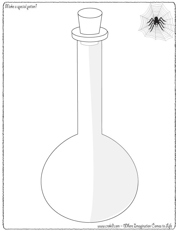 Make a Magic Potion! CreKid.com - Creative Drawing Printouts - Spark your child's imagination and creativity. So much more than just a coloring page. Preschool - Pre K - Kindergarten - 1st Grade - 2nd Grade - 3rd Grade. www.crekid.com