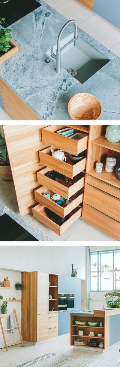 WALDEN Holzküche mit praktischen Stauraum Ideen