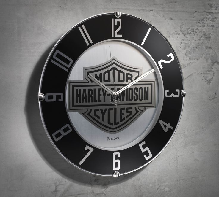 Counting down the hours until your next ride? Us, too – literally. | Harley-Davidson Mirrored Bar & Shield Logo Wall Clock