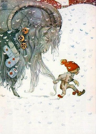 Yule Goat and Elf by John Bauer