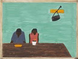 Modern: Jacob Lawrence is de kunstenaar. Ik vind dat er in schilderijen die heel leeg zijn iets in moet zitten waardoor het toch heel speciaal word iets heel erg kleins is al genoeg. Hier kan ik dit niet vinden ik zie alleen twee donker mensen die aan het eten zijn aan een tafel met aan een soort van kapstok een tas. Ook krijg ik niet speciale emoties bij dit kunstwerk alleen dat ik het saai vind en dat komt door de leegheid van het kunstwerk.