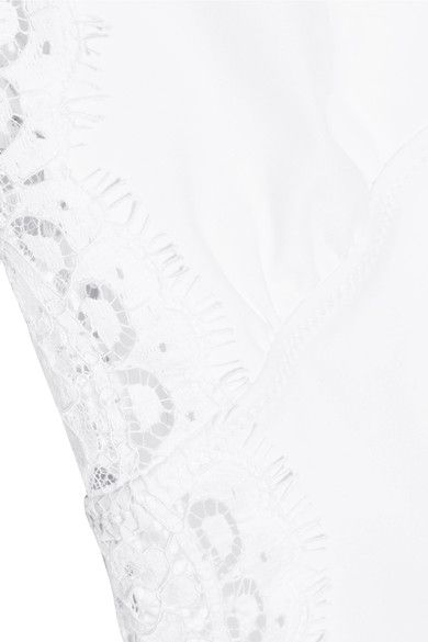 I.D. Sarrieri - Elite Chantilly Lace-paneled Swimsuit - White - x large