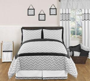 black and gray chevron zig zag childrens kids teen bedding full queen set by sweet jojo designs