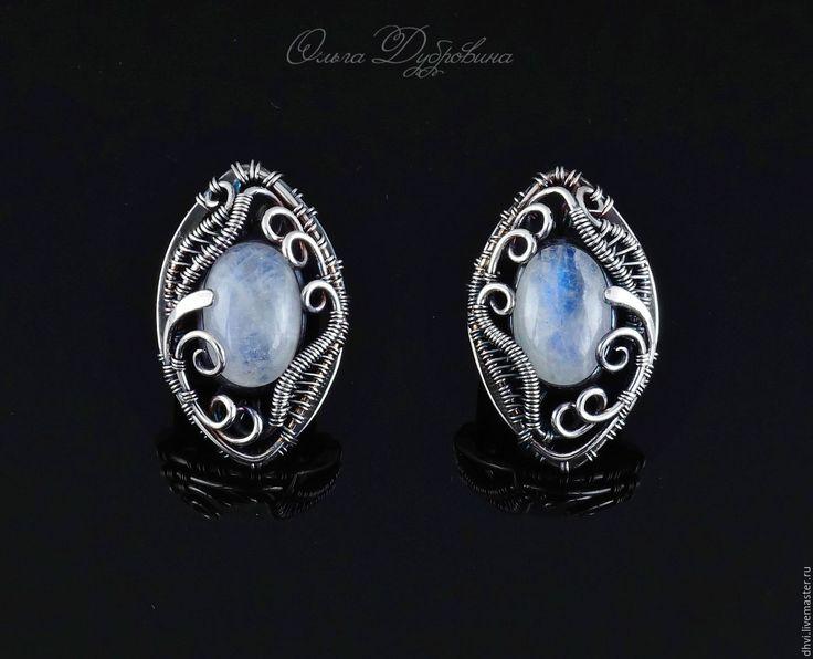 Купить Серьги из серебра с адуляром( лунным камнем) - голубой, адуляр, лунный камень, серьги