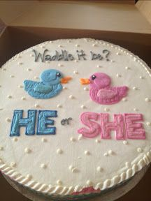 Waddle it Be gender reveal cake by the Cakery in Dogtown, St Louis