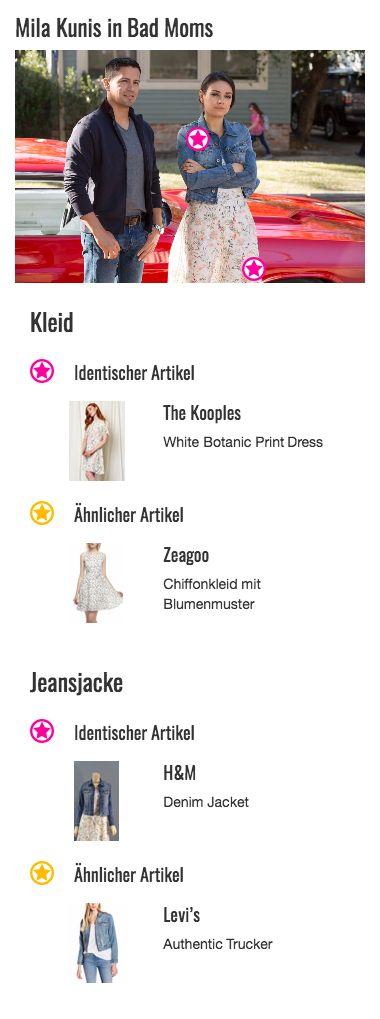 """Eines der schönsten Outfits aus """"Bad Moms"""" ist Amys (Mila Kunis) Freizeit-Look, bestehend aus einer Jeansjacke, ein paar Stiefelletten und einem Kleid mit süßem Blümchenprint von The Kooples, das ihr bis kurz übers Knie reicht. Ihr Style wirkt dank des verspielten Printmusters und der naturweißen Grundfarbe besonders feminin, ohne aber an der jungen Mutter zu mädchenhaft auszusehen."""