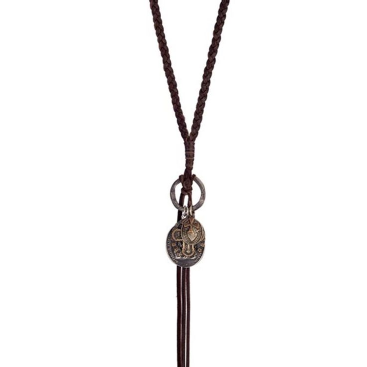 Shannon Koszyk Jewelry   Leather Antiquity Necklace   Vintage Religious Jewelry