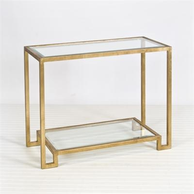 Gold Leaf Console With Beveled Glass Shelves. Lyle Gold Leafed Console From  Worlds Away, Console Table, Metal, Glass, Gold Leaf