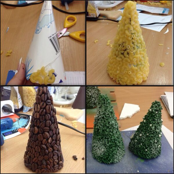 Christmas tree.. can be produced from different materials. for example, pasta, grains of coffee, of feathers and so on.