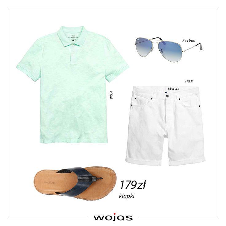 Koszulka polo w miętowym kolorze znakomicie pasuje do białych jeansowymi szortów! Doskonałym uzupełnieniem całego zestawu są japonki Wojas (https://wojas.pl/produkt/19288/klapki-meskie-4355-56 ) !