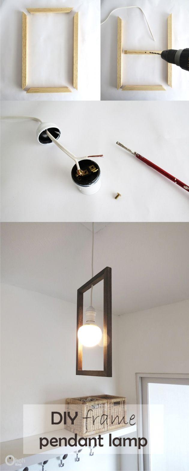 Lámpara DIY con un marco / Vía http://www.ohohblog.com/
