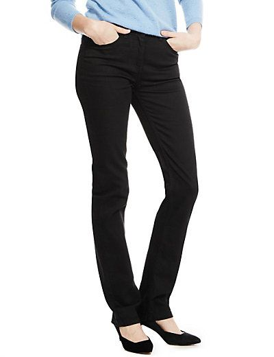 Straight leg black jeans are an excellent staple that can be dressed up or down. They are also brilliant in combination with colourful tops and shoes.