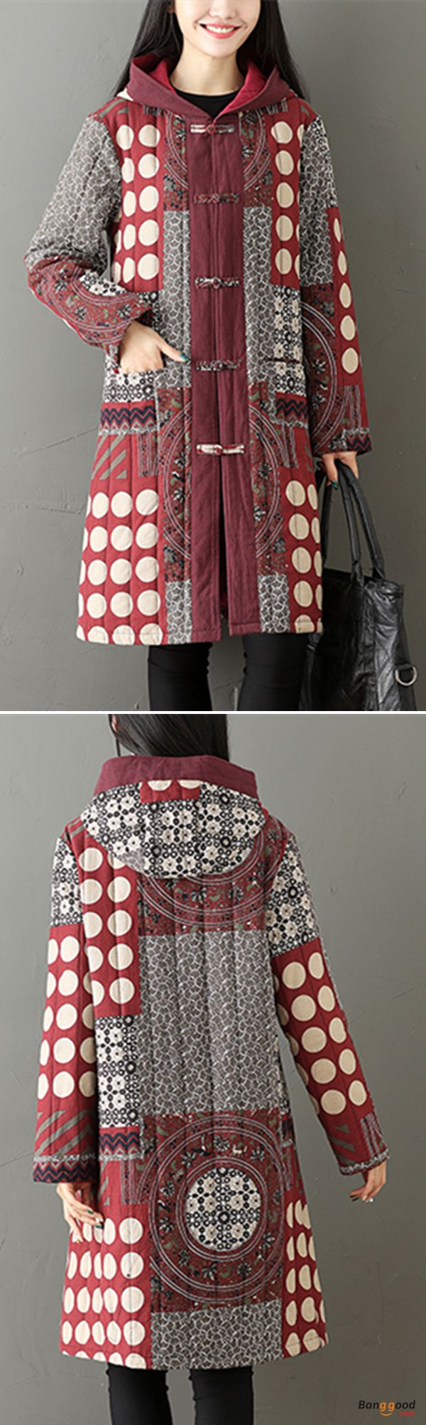 US$45.88 + Free shipping. Size: M~5XL. Color: Black, Red. Fall in love with casual and vintage style! Gracila Ethnic Printed Plate Buckle Thicken Women Hooded Coats.