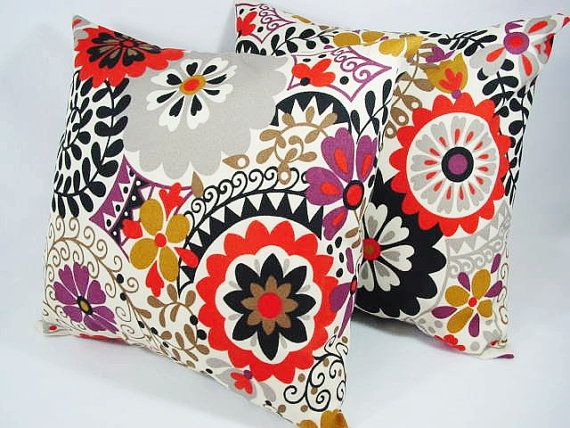 Two Couch Pillows In Red Brown And Beige Floral Suzani   Indoor Outdoor  Pillow   20
